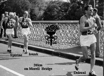 The first walkers crossing the Morrell St bridge near the end of the 20 km event