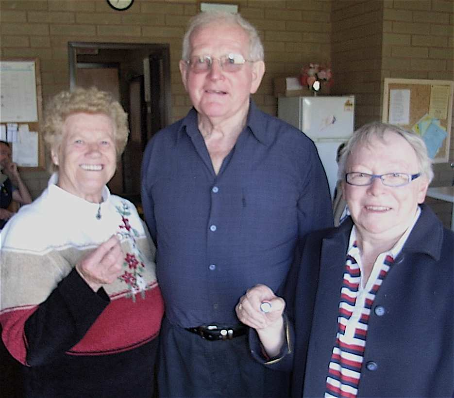 Joyce and Barb receive their Life Membership badges from President Harry Summers