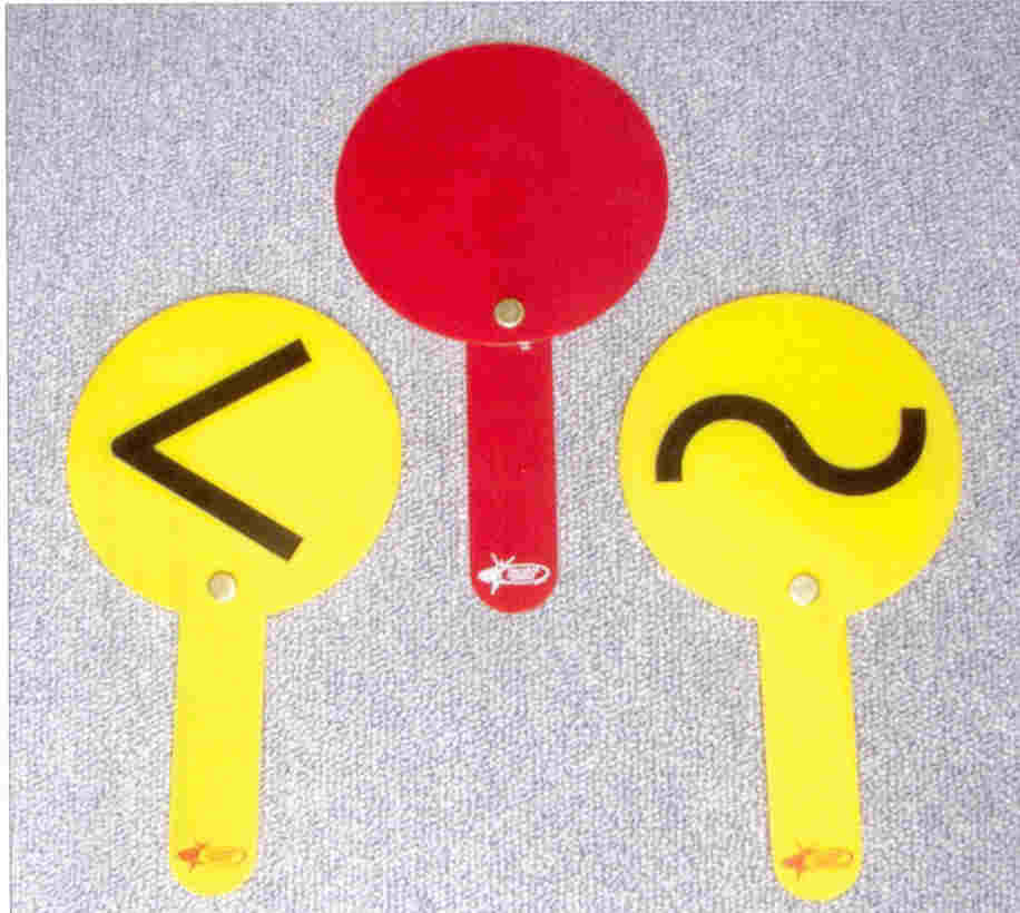 The red and yellow paddles